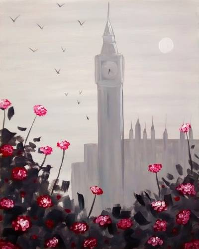 A London Roses paint nite project by Yaymaker
