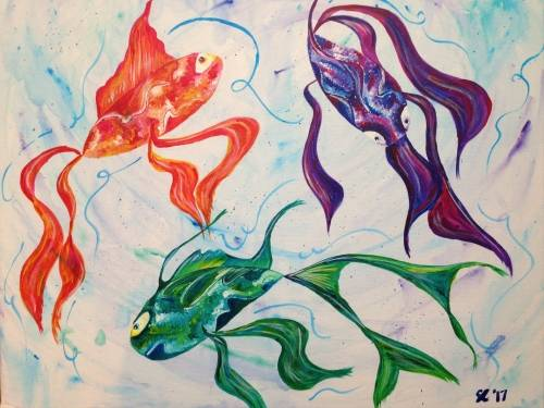 A Swishy Fishies paint nite project by Yaymaker