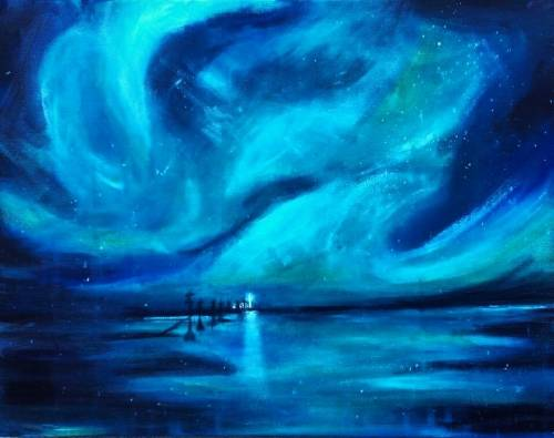 A Magical Northern Lights paint nite project by Yaymaker