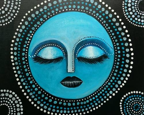 A Blue Moon Goddess paint nite project by Yaymaker