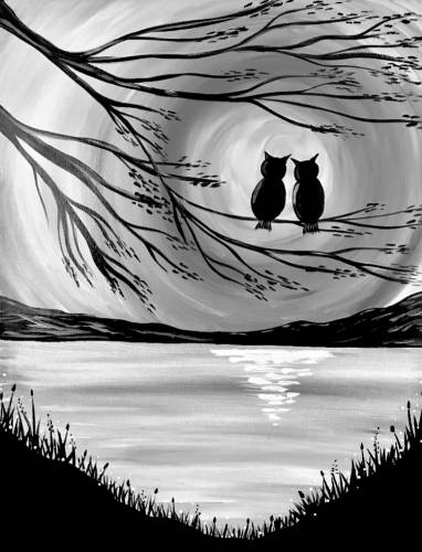 A Owl Lovers Lake Noir paint nite project by Yaymaker
