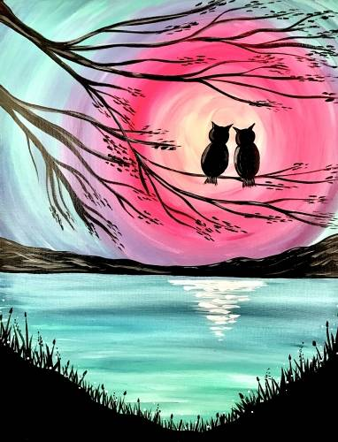 A Owl Lovers Lake paint nite project by Yaymaker