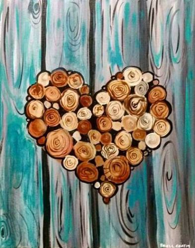 A Wooden Nature Heart paint nite project by Yaymaker