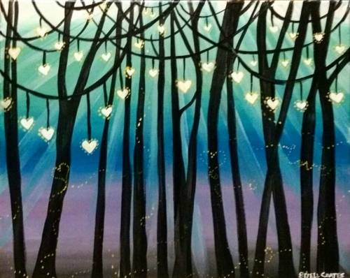A A Forest of Warm Hearts paint nite project by Yaymaker