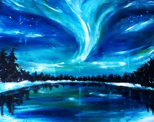 A Lighthearted Northern Lights paint nite project by Yaymaker