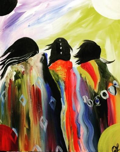 A Aboriginal Sisters paint nite project by Yaymaker