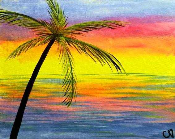 A Sunset Palm paint nite project by Yaymaker