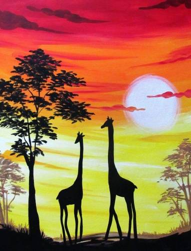 A Giraffe Sunset Safari paint nite project by Yaymaker