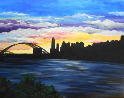 A Cincy Scape from Joes paint nite project by Yaymaker