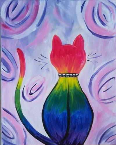 A Rainbow Kitty paint nite project by Yaymaker