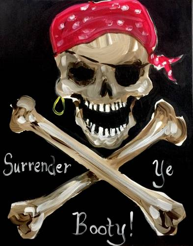 A Pirate Skull Booty Hunt paint nite project by Yaymaker