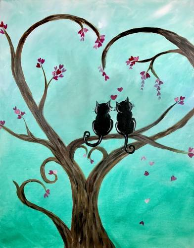 A Kitty Love in the Heart Tree paint nite project by Yaymaker