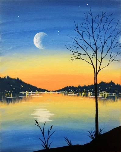 A Moonrise Evening paint nite project by Yaymaker