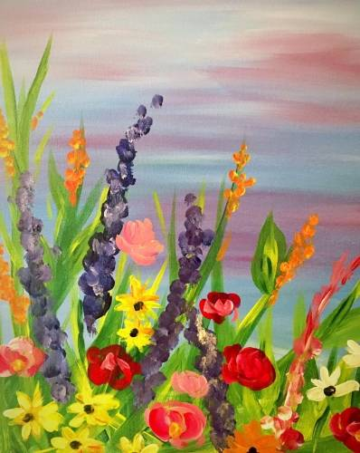 A Wildflower Garden paint nite project by Yaymaker