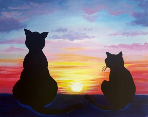 A Purrfect Friends paint nite project by Yaymaker