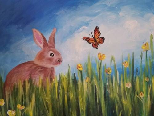 A Bunny and Butterfly paint nite project by Yaymaker