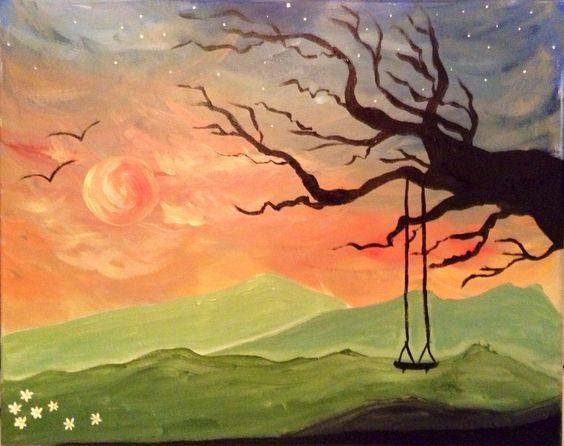 A Sunset Swing 2 paint nite project by Yaymaker