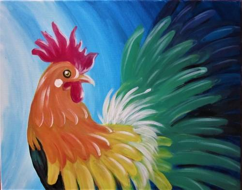 A Rainbow Tale of the Rooster paint nite project by Yaymaker
