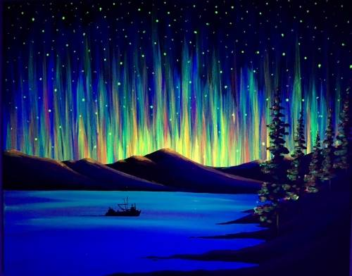 A Black Light Northern Lights the Way paint nite project by Yaymaker