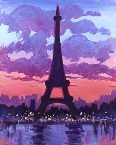 A Eiffel Sunset paint nite project by Yaymaker