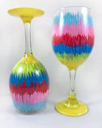 A Rainbow Splash Wine Glasses paint nite project by Yaymaker