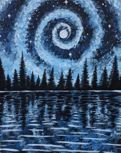 A Starry Galaxy Lake in Blue paint nite project by Yaymaker