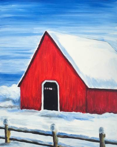 A Winter Barn paint nite project by Yaymaker