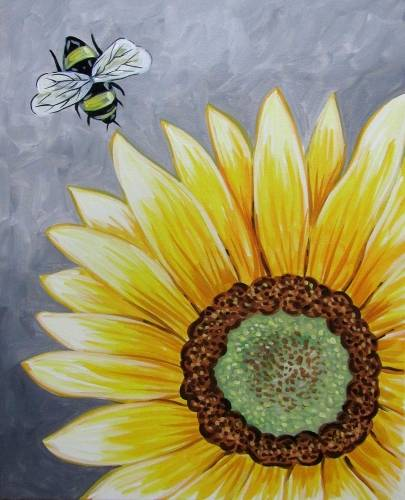 A Beeutiful Sunflower paint nite project by Yaymaker