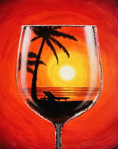 A Sunset Merlot paint nite project by Yaymaker