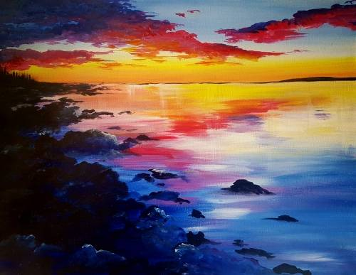 A Lake Michigan Sunset paint nite project by Yaymaker