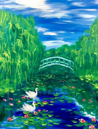 A Swans on Monets Pond paint nite project by Yaymaker