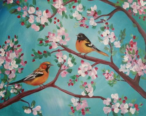 A Orioles and Blossoms paint nite project by Yaymaker