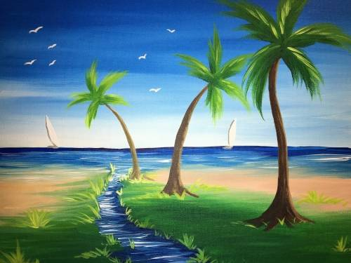A Calm Palm Beach paint nite project by Yaymaker