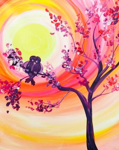 A Sunset Lovebirds paint nite project by Yaymaker