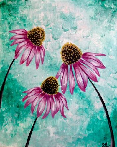A Happy Little Cone Flowers paint nite project by Yaymaker