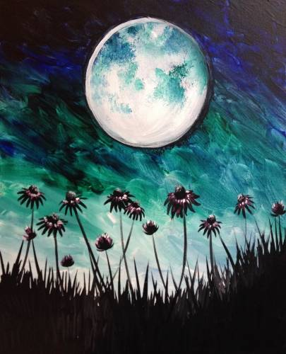 A Moonlit Cone Flowers paint nite project by Yaymaker