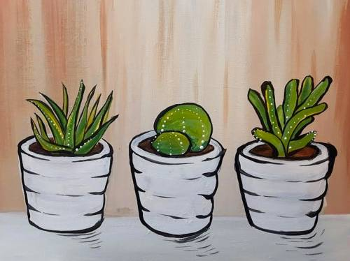 A Summer Succulents paint nite project by Yaymaker