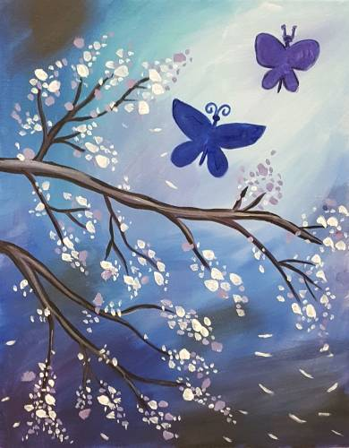 A Butterfly Blues paint nite project by Yaymaker