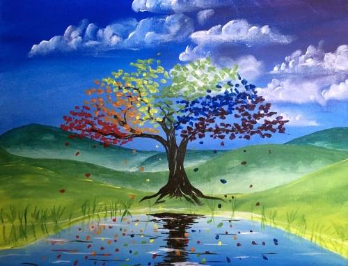 A The Tree that Grew the Colors paint nite project by Yaymaker