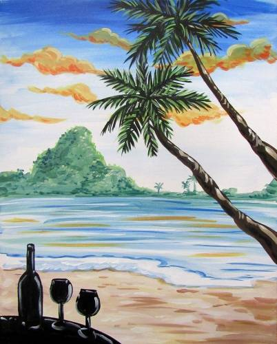 A Beach and Wine paint nite project by Yaymaker