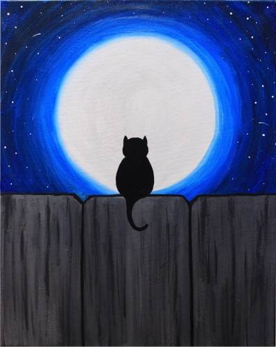 A Cat in Moonlight paint nite project by Yaymaker