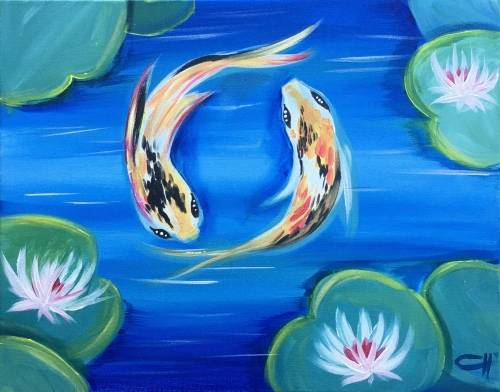 A Koi Fish Yin Yang paint nite project by Yaymaker