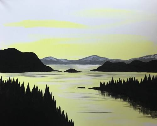 A Golden Tranquility paint nite project by Yaymaker