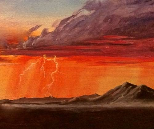 A Lightning Storm at Dawn in the Desert paint nite project by Yaymaker
