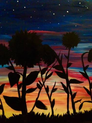 A Sunflowers at Sunset paint nite project by Yaymaker
