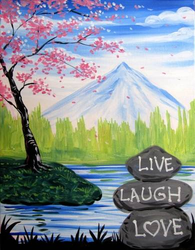 A Live Laugh Love with Blossoms paint nite project by Yaymaker