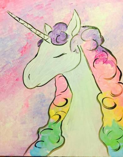 A Rainbow Unicorn II paint nite project by Yaymaker