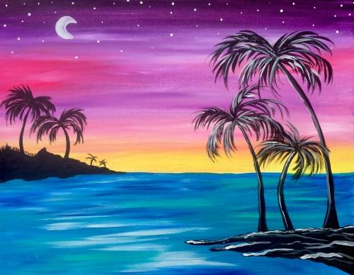 A Beach Palm Paradise paint nite project by Yaymaker