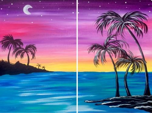 A Beach Palm Paradise Partner Painting paint nite project by Yaymaker