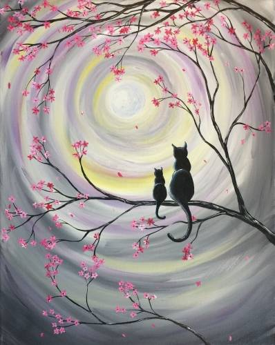 A Moonglow Kitties paint nite project by Yaymaker